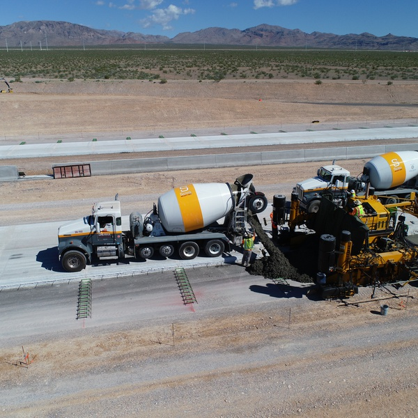 Laying down the asphalt during a road construction project