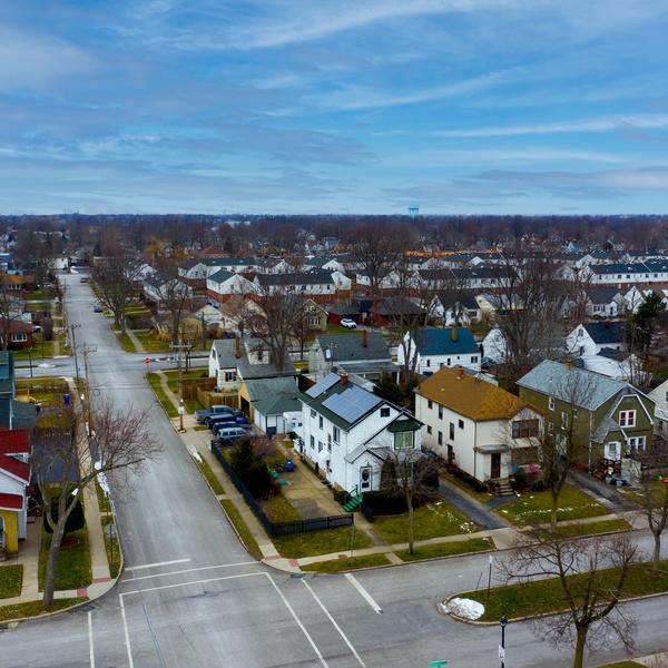 Neighborhood shot with sky replacement