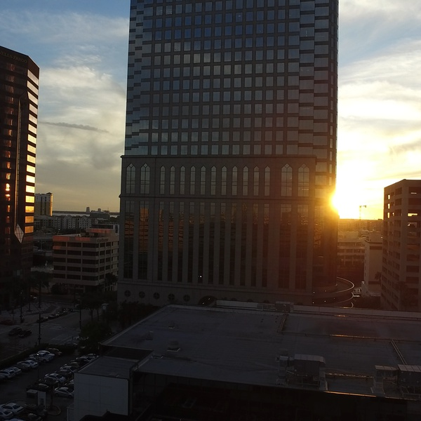 Sunset in downtown