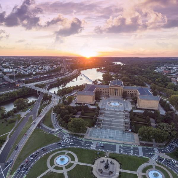 The sunset over the Philadelphia Art Museum.