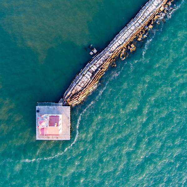 Seawall and Lighthouse, Port of Lorain, Lorain, Ohio
