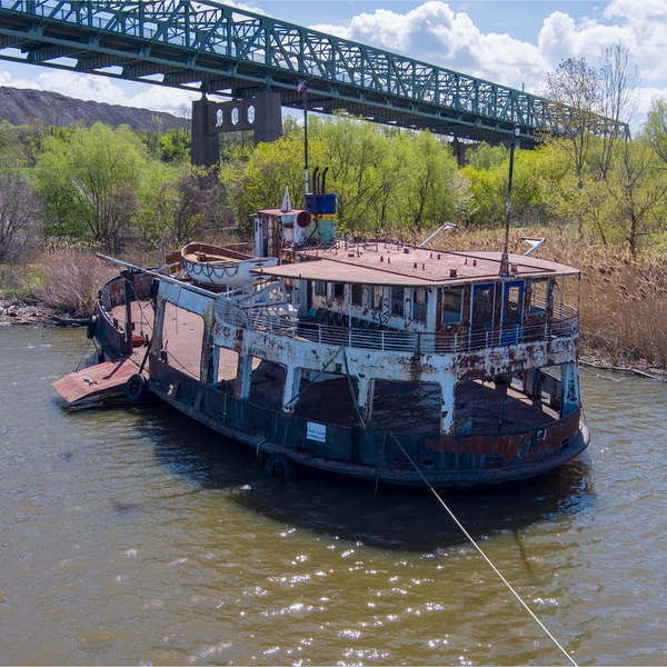 Canadian Automobile Ferry 'Upper Canada' Aground on the Black River, Lorain, Ohio