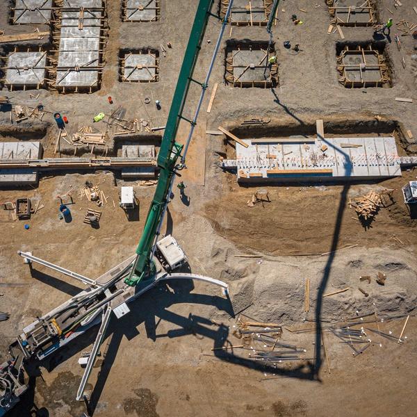 Construction aerial - EPS Admin bldg - concrete pour