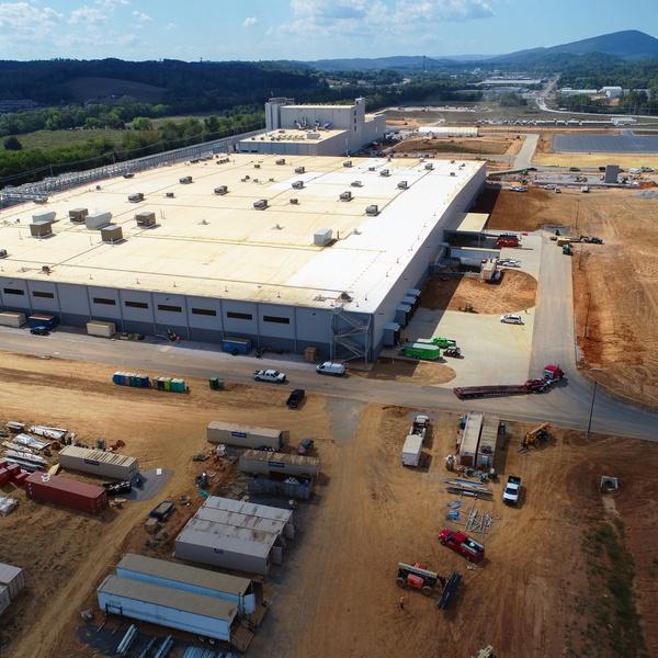 Commercial construction site progress