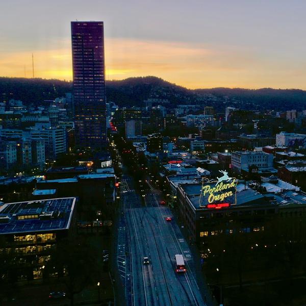 Portland Oregon at sunset
