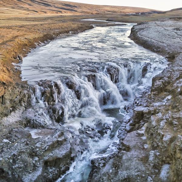 Icelandic Waterfall Drone Image