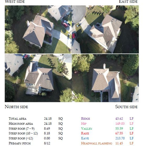 Drone image roof measurement