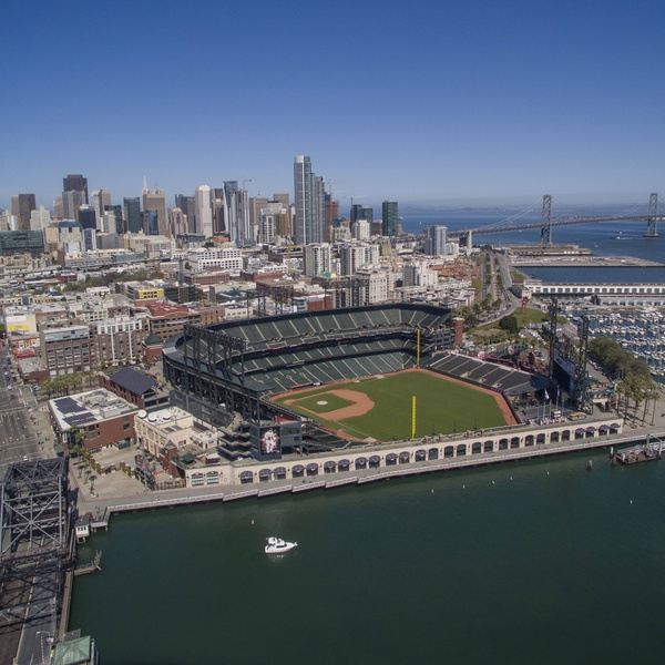 Oracle Park from above used for SF Giants Enterprises Coffee Table Promotional Book