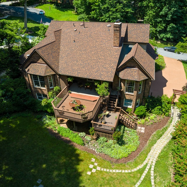 A real Estate exterior with an interesting yard you can only capture from the air.