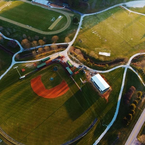 Aerial photo of Baseball field. Located in Rabun Gap, GA