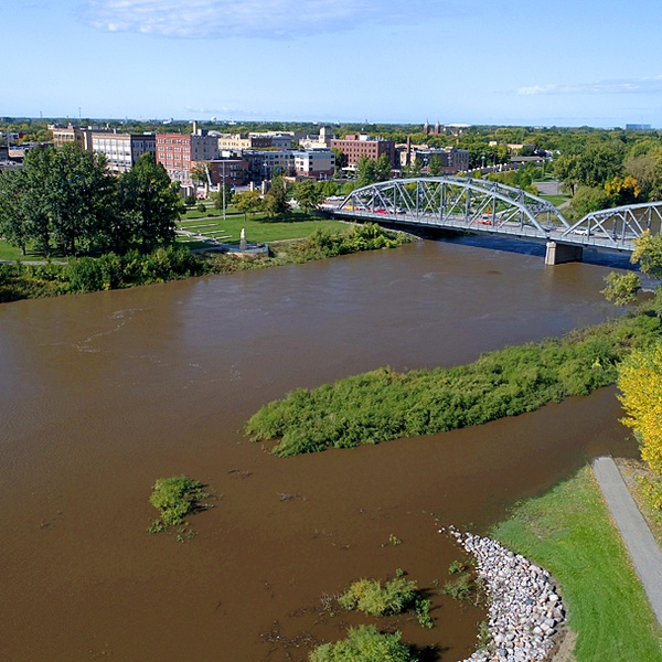 Fall flooding on the Red River  Grand Forks North Dakota
