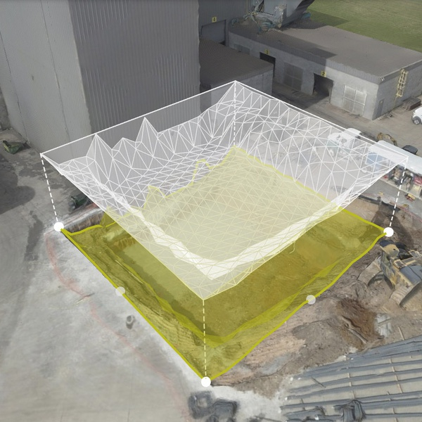 construction with volumetric calculation in 3d