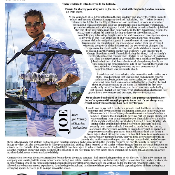 Voyage Magazine Article On Skyview Productions (Page 1)