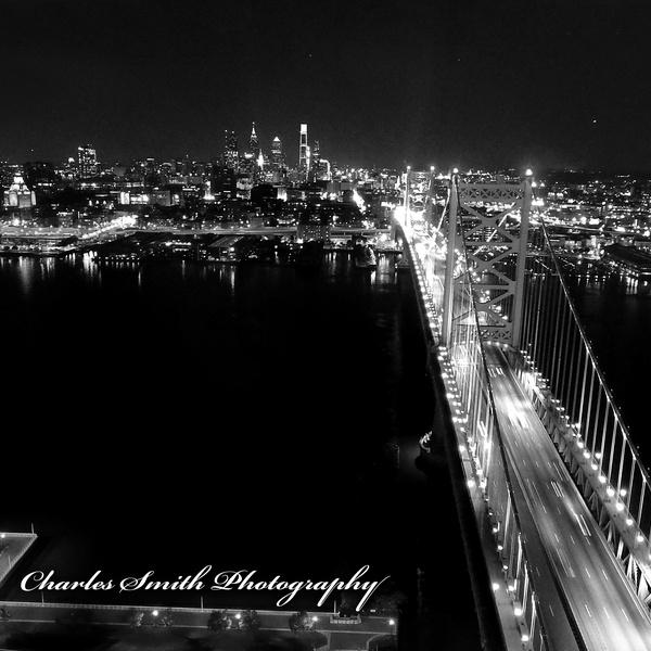 The Benjamin Franklin Bridge At Night by Charles Smith (B&W)
