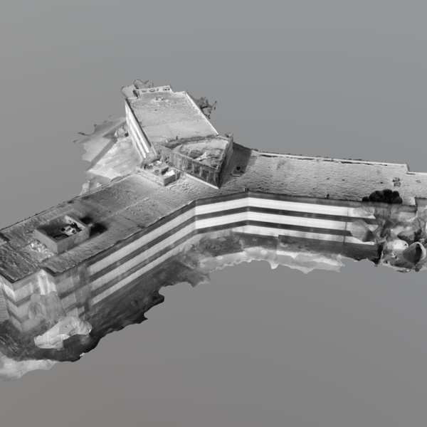 A 3D Model of a Building with White-Hot Thermal Data Overlaid