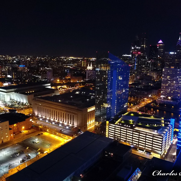 Cira Centre North & South w- Philadelphia Night Skyline