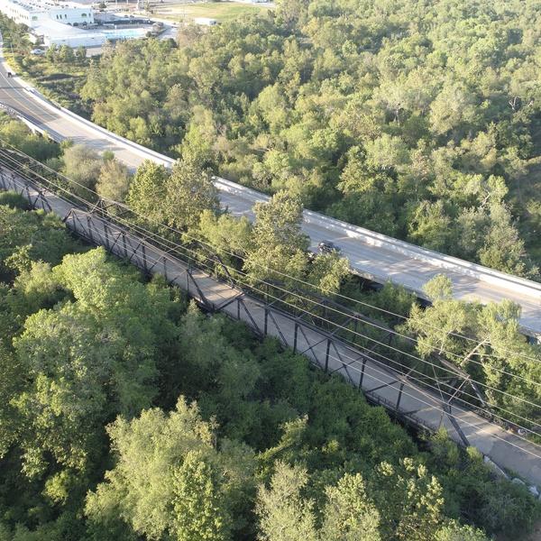 Trees, Bridge, Power lines