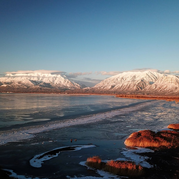 Wasatch Front and Winter on Utah Lake