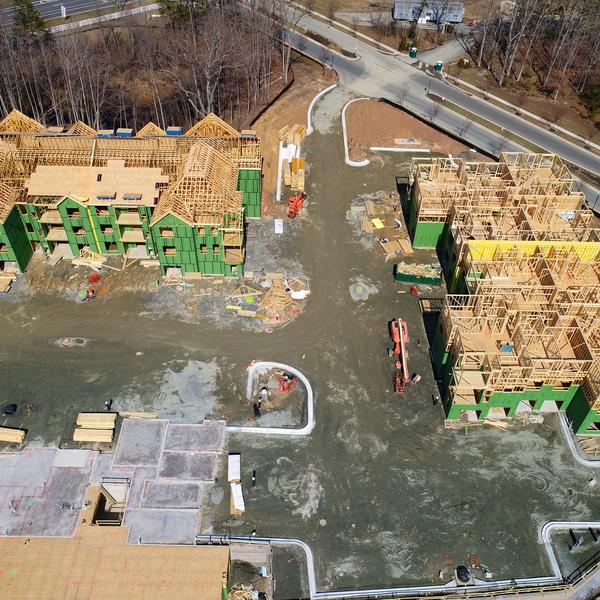 Construction - Apartment Building Site - Oblique