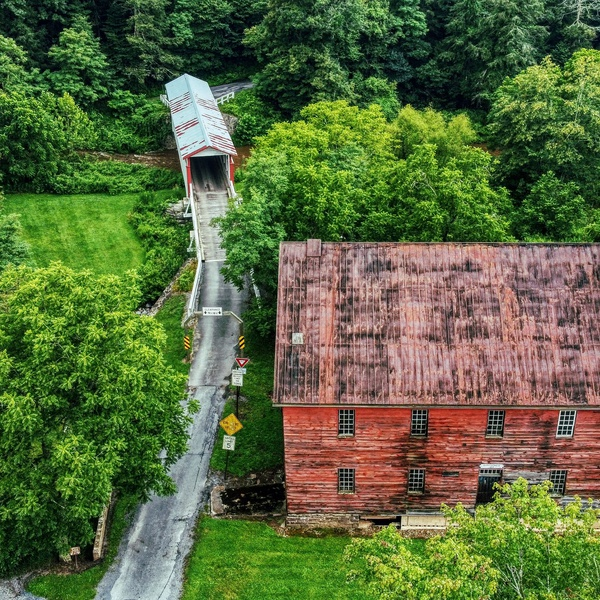 Old Mill and Covered Bridge