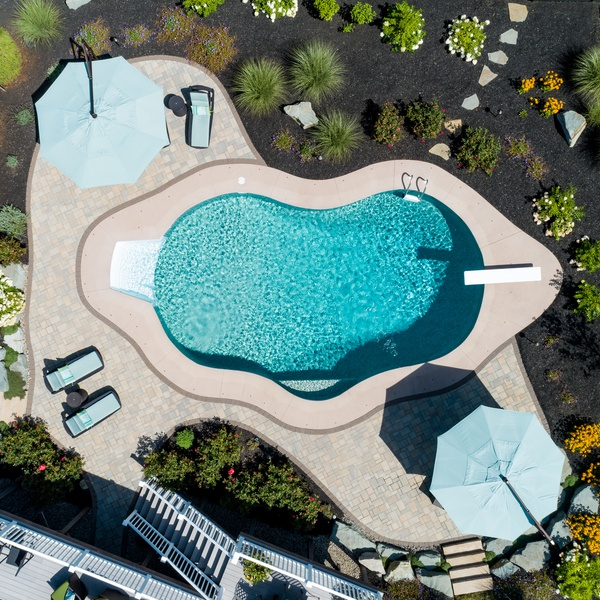 Aerial Photography - Bird's Eye View - Landscape Design and Pool Install (After Shot)