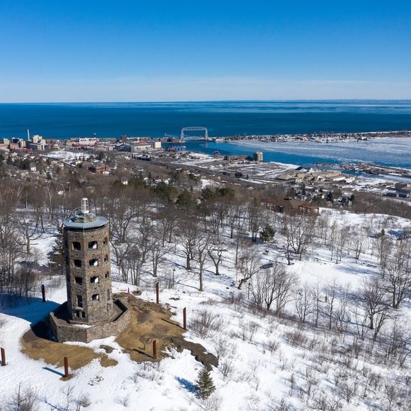 Enger Tower and Lift Bridge in Winter - Visit Duluth Aerial