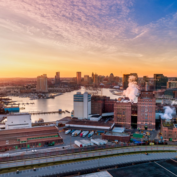 Sunset Aerial Overlooking Baltimore