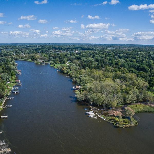 The Fox River facing north
