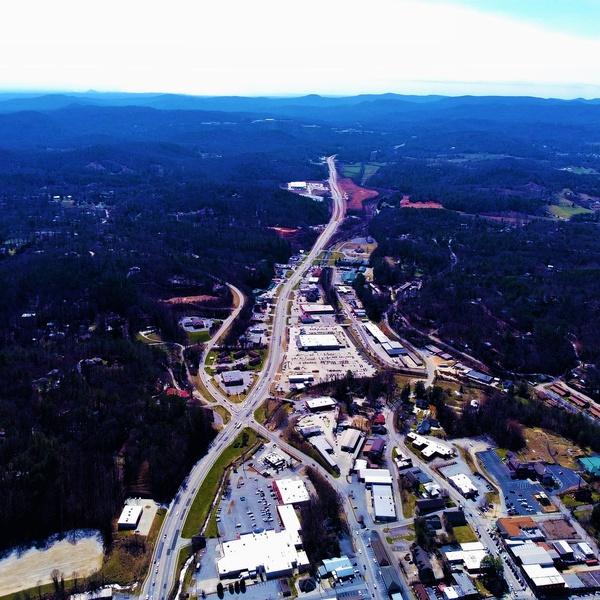 Aerial view of Clayton, GA shot using DJI Mavic Mini 2