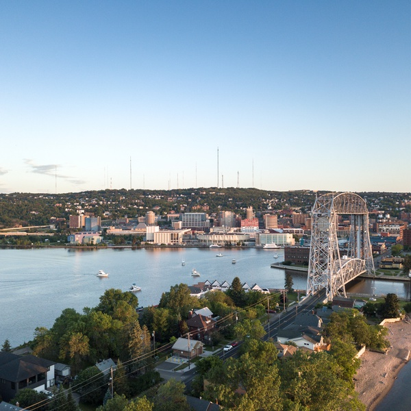 Lift Bridge Sunrise - Visit Duluth Aerial