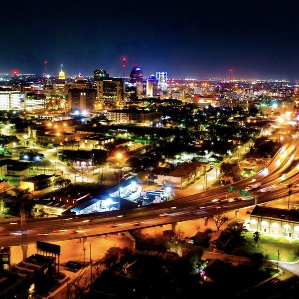 Night time over San Antonio