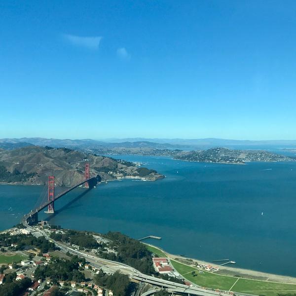 Golden Gate Bridge, Angel Island from above Presidio