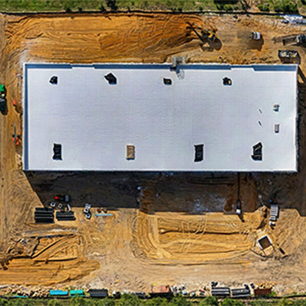 Mavic 2 Pro overhead photo of construction site including roof of new building